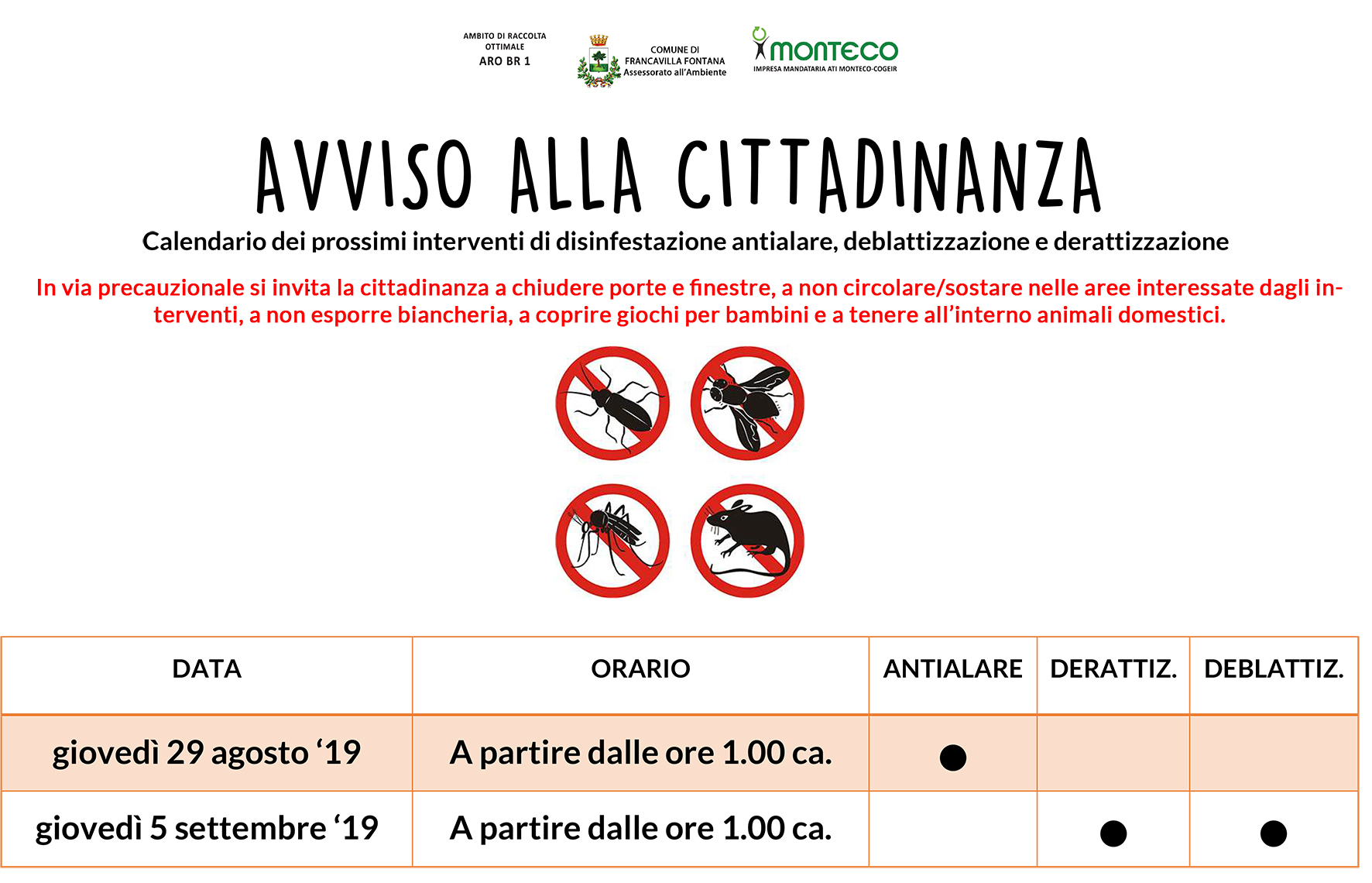 Francavilla Fonana. Calendario dei prossimi interventi di disinfestazione antialare, deblattizzazione e derattizzazione
