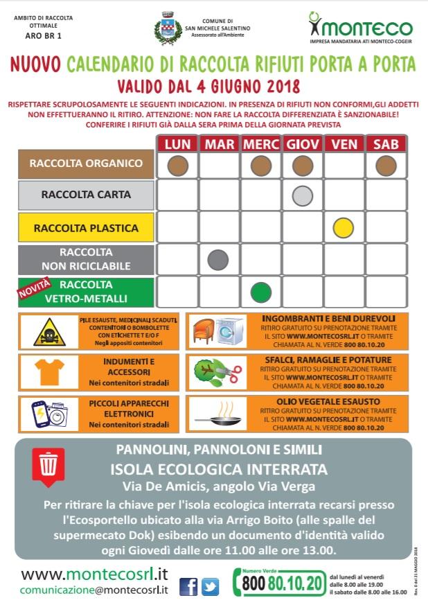 San Michele Salentino: nuovo calendario di raccolta rifiuti a partire dal 4 giugno 2018