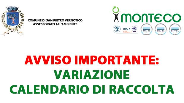 San Pietro Vernotico: variazione del calendario di raccolta il 6 gennaio 2017