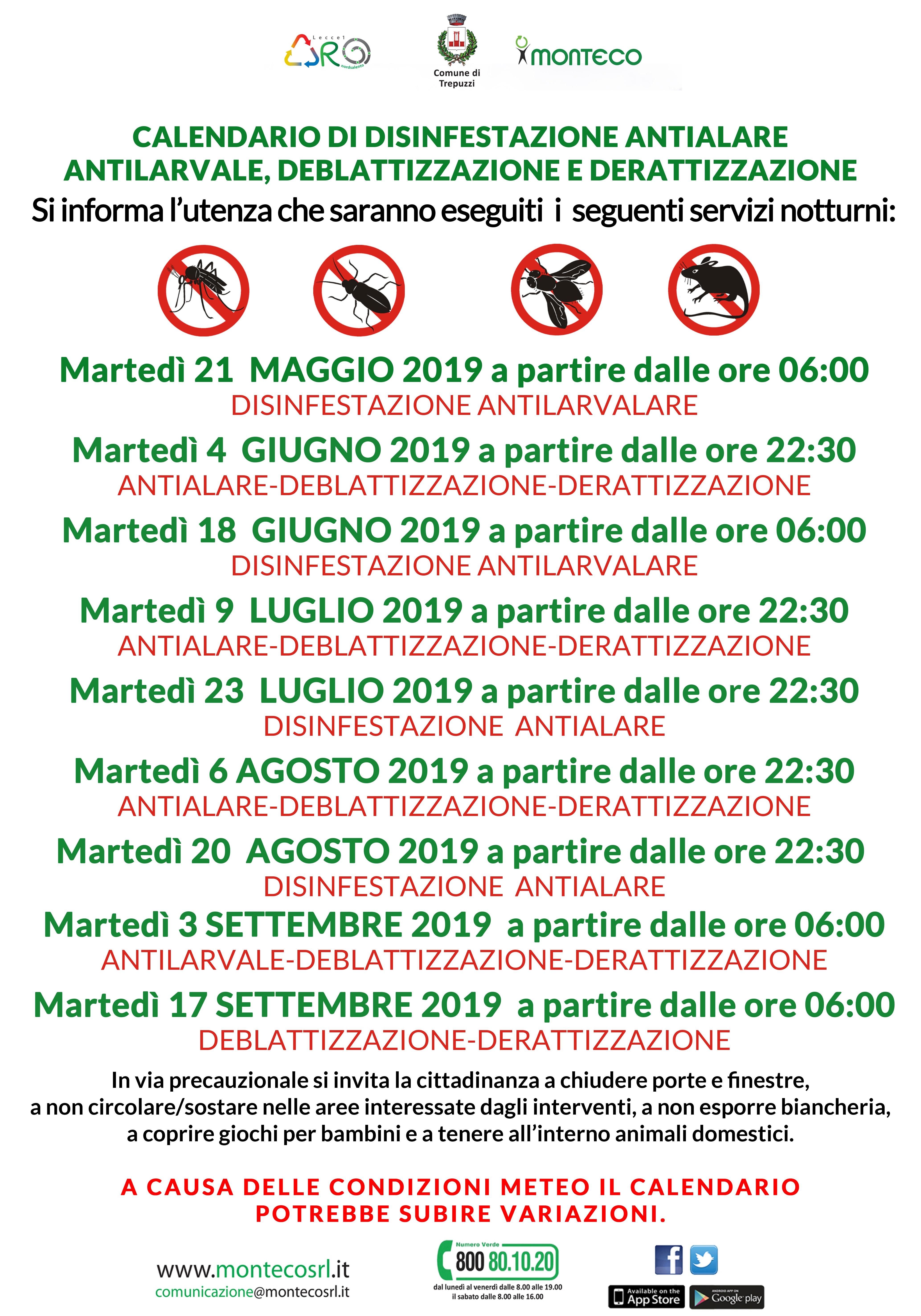 Trepuzzi - Calendario di disinfestazione antialare, deblattizzazione e derattizzazione
