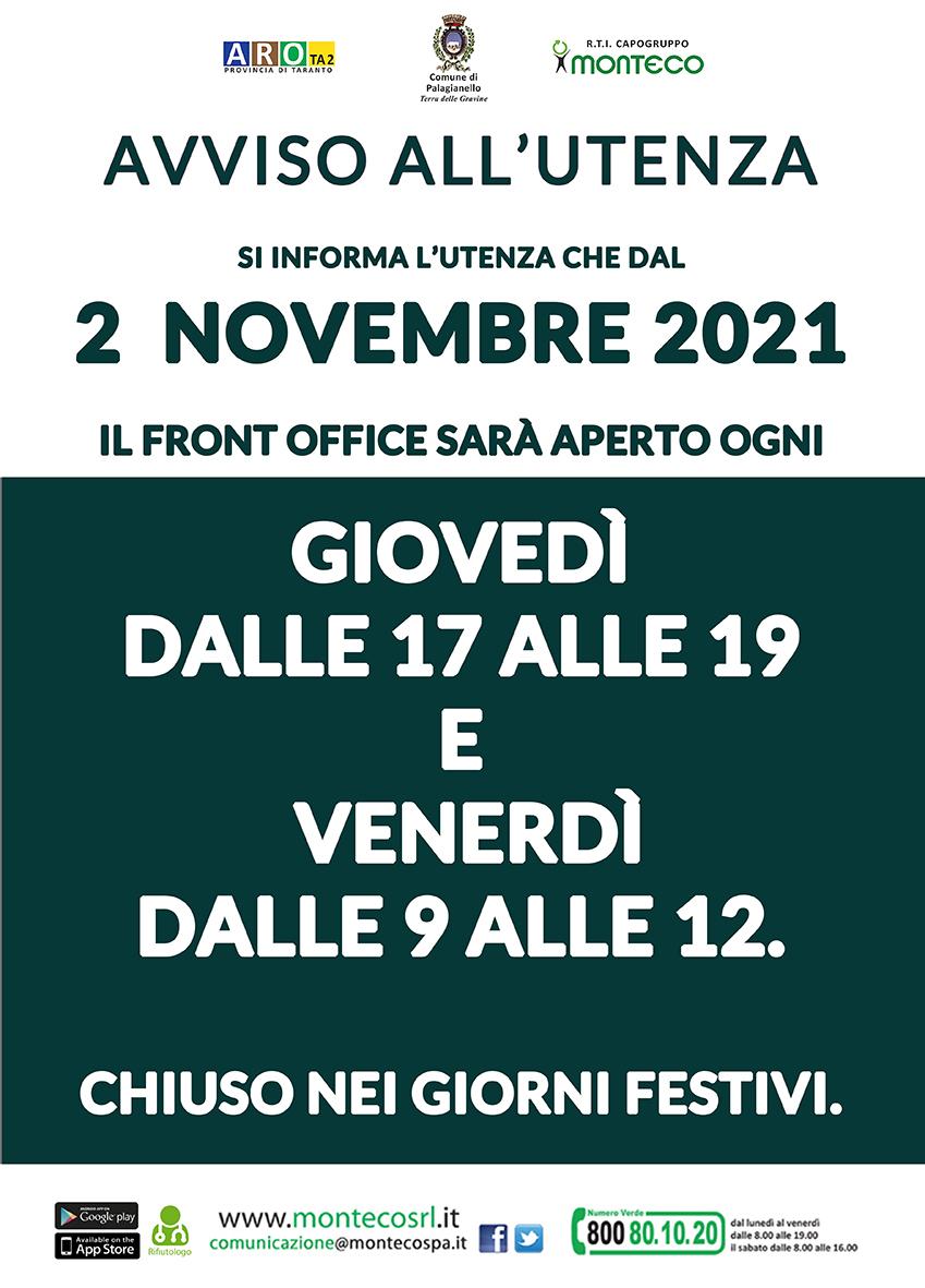 Palagianello. Orari di apertura Front Office dal 2 novembre 2021