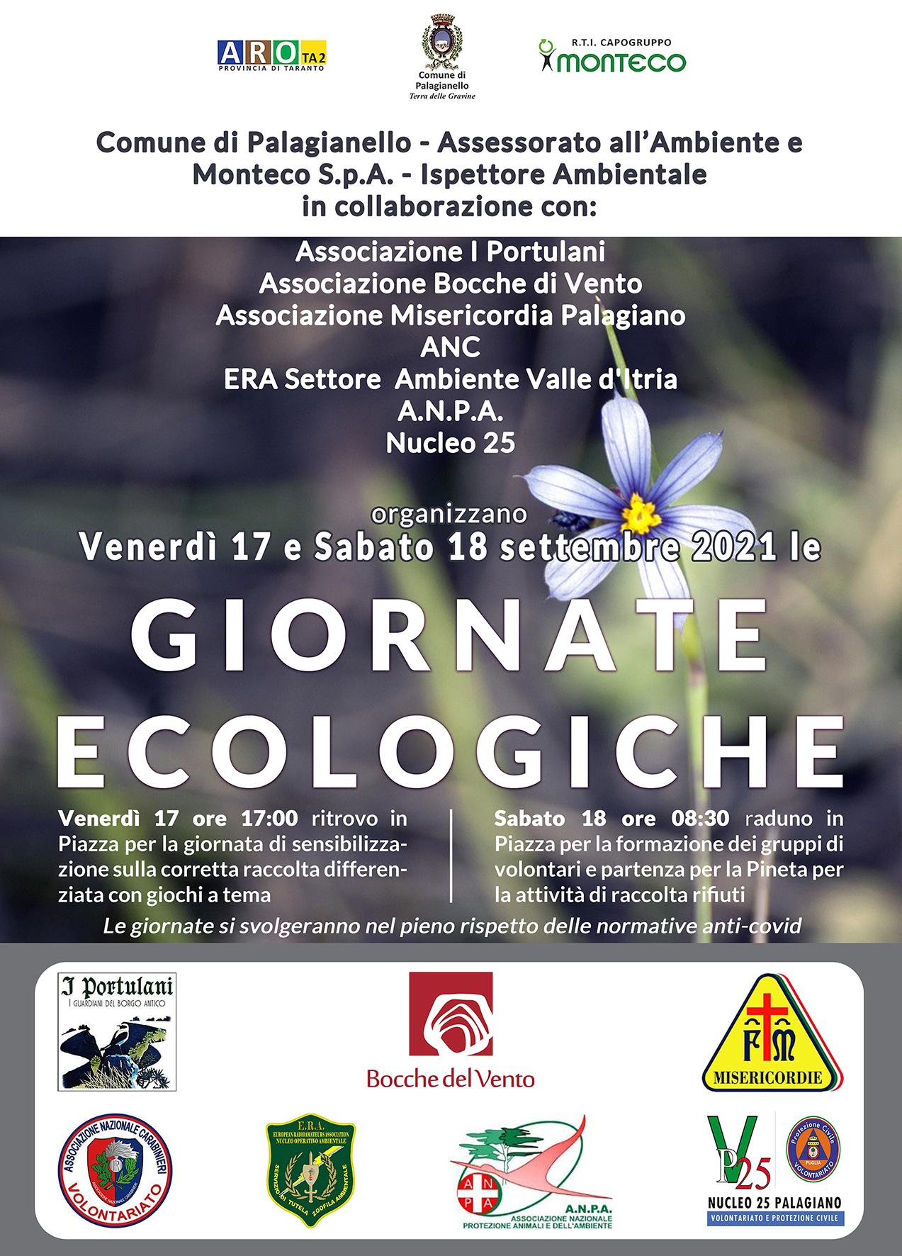 Palagianello. Sabato 18 settembre 2021 si svolgerà la Giornata Ecologica