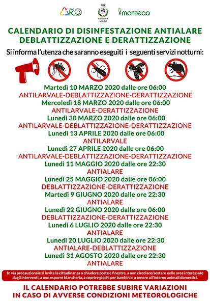 Novoli. Calendario disinfestazioni antialare, antilarvale, derattizzazione e deblattizzazione
