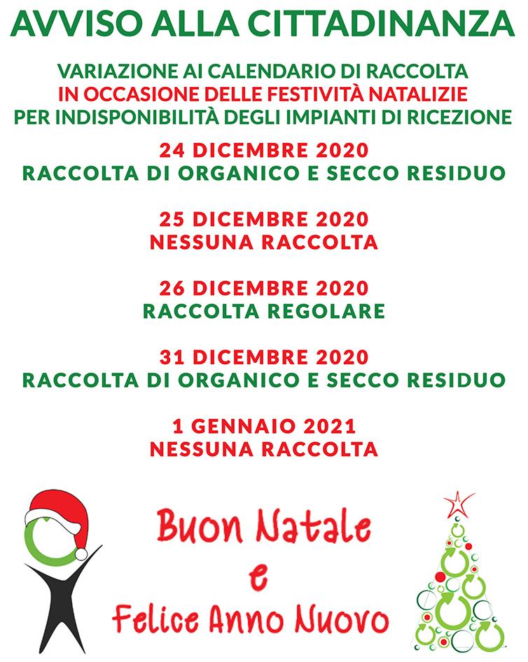 ARO LE 1: Comuni di Campi Salentina e Surbo. Variazione calendario di Raccolta per festività natalizie